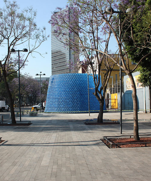architects build a pavilion of 2500 plastic bottles in the center of mexico city