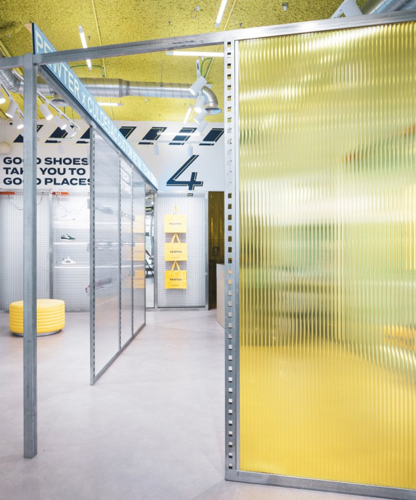 culdesac combines neon and yellow wool for the 'instagrammable' pewter store in valencia