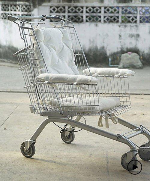 designer turns a shopping cart into an affordable DIY wheelchair