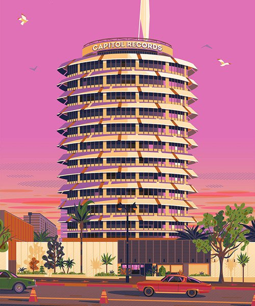artist conveys his admiration for LA through colorful illustrations of the city's architectural treasures