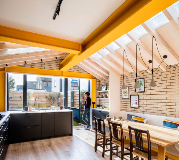London's Yellow Steel House Is a Colorful Extension to a Terraced House
