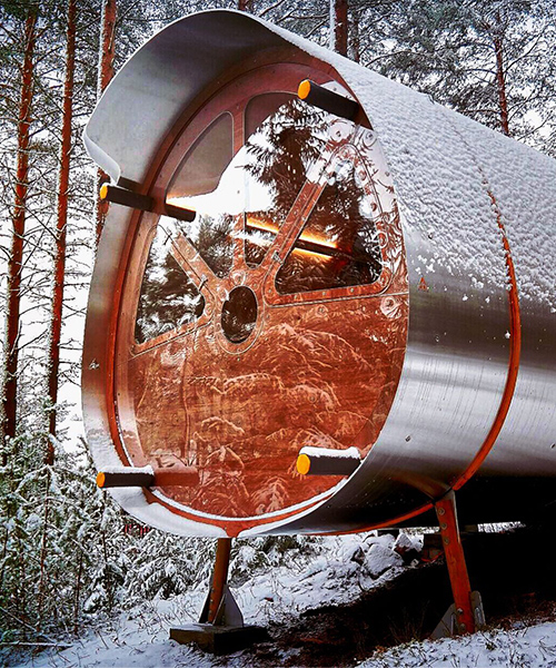 eco-friendly fuselage cabin by tree tents can be assembled among the wildest landscapes