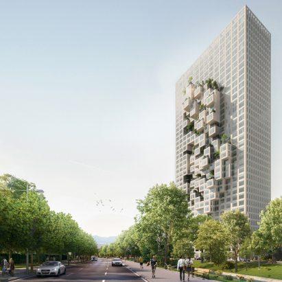MVRDV designs Albania's tallest building with pixellated facade