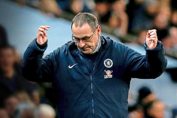 Chelsea boss Maurizio Sarri at training: Business as usual for under-fire manager