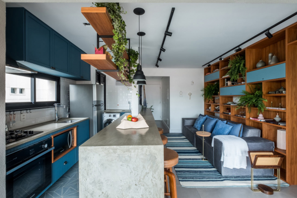 A São Paulo Apartment That Combines Rustic Elements and Shades of Blue