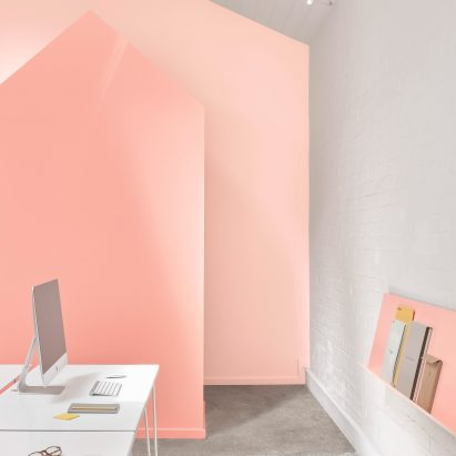 BoardGrove Architects uses gradated tones of peach throughout Melbourne office