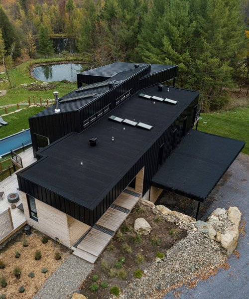 interconnected modules with offset façades form the abercorn chalet in canada