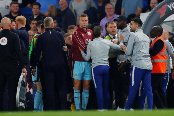 What was reportedly said to Chelsea manager Maurizio Sarri during fiery clash with Burnley