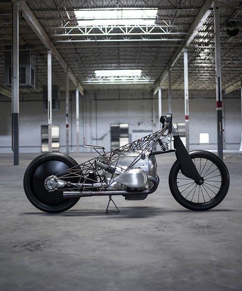 unreleased BMW motorcycle prototype spun with custom web-like geometry