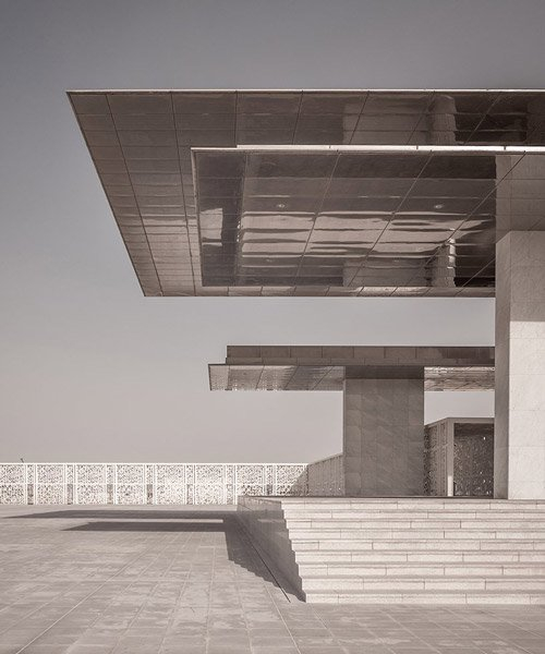 arata isozaki's ceremonial court in doha is captured by photographer pygmalion karatzas