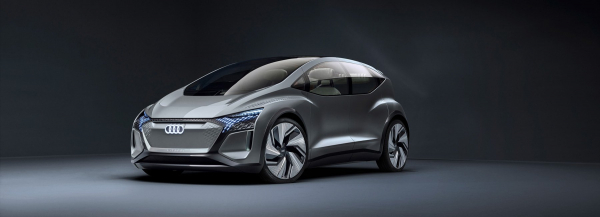 the AUDI AI:ME is a self-driving hatchback with a pergola 'garden roof'