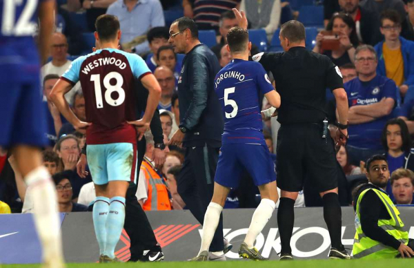Several Burnley staff called Maurizio Sarri a 's**t Italian' before he was sent off
