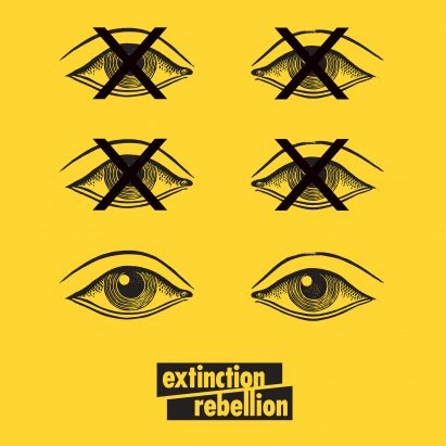 Extinction Rebellion uses bold graphics in protest against climate change