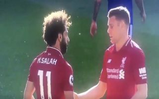 Video: Salah's angry reaction after Milner snatched ball from him to take late Liverpool penalty at Cardiff