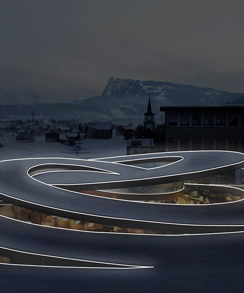 la linea by BIG for artemide, a luminous strip that moves freely in space