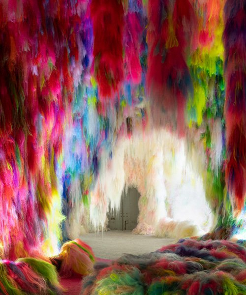 shoplifter creates hypernatural environment of colored neon hair for the icelandic pavilion