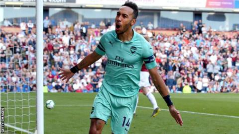Aubameyang double in Arsenal win at Burnley