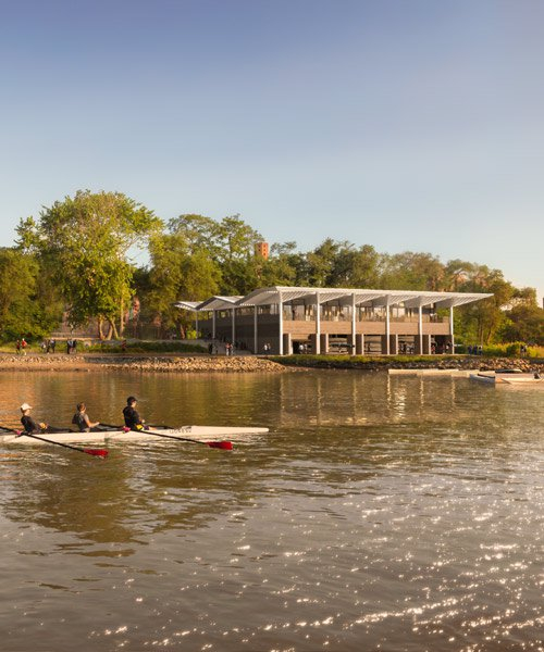 norman foster designs timber boathouse for new york non-profit