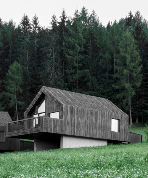 bergmeisterwolf elevates three 'forest houses' at the foot of an italian woodland