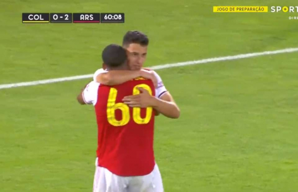 Arsenal new boy Gabriel Martinelli scores with his shoulder on his debut vs Colorado Rapids