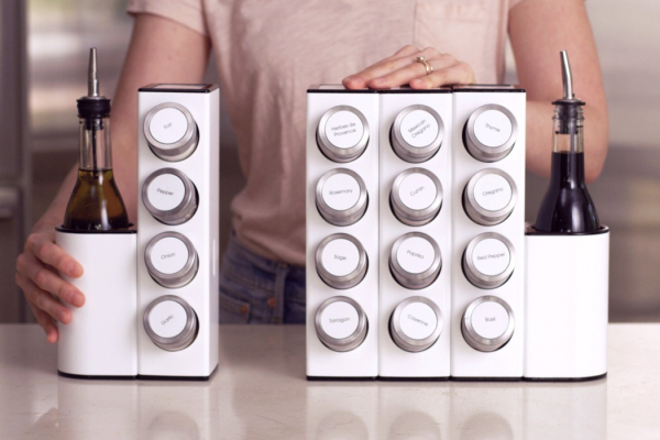 A modular spice/mix/oil rack that makes food-prep lightning fast!