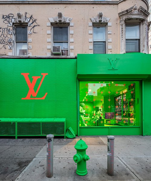 virgil abloh and louis vuitton colorize every inch of NYC pop-up in neon green