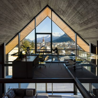 Geza designs gabled home to frame views of Alpine village