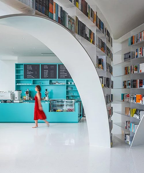 wutopia lab designs the 'books above clouds' store in shanghai's tallest building