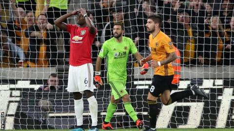 Pogba misses penalty as Neves stunner earns Wolves draw against Man Utd