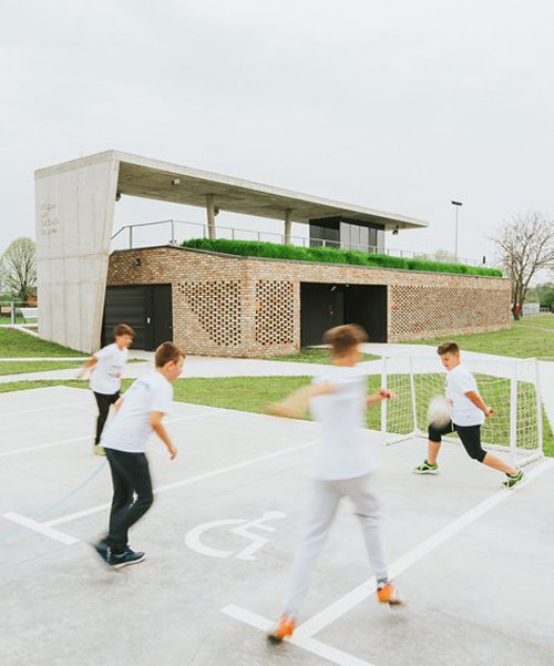 GEplus arhitekti reuses village bricks for new football stadium in croatia