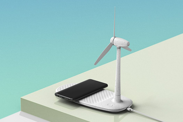 A wireless charger & desk fan that takes inspiration from renewable fuel
