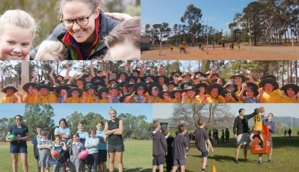 VicHealth Walk to School winners 2018 receive a visit from AFL players