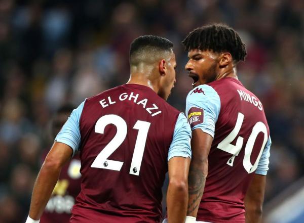 Aston Villa's Anwar El Ghazi aims headbutt at team-mate Tyrone Mings during West Ham clash