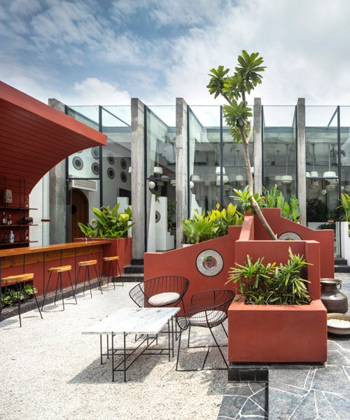 portal 92 incorporates the dynamics of a rural village into trendy rooftop cafe in india
