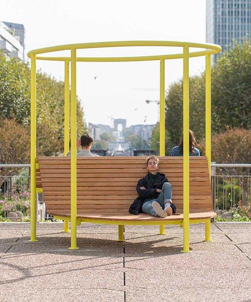 robert stadler installs inside-out street furniture for forme publique biennial in paris