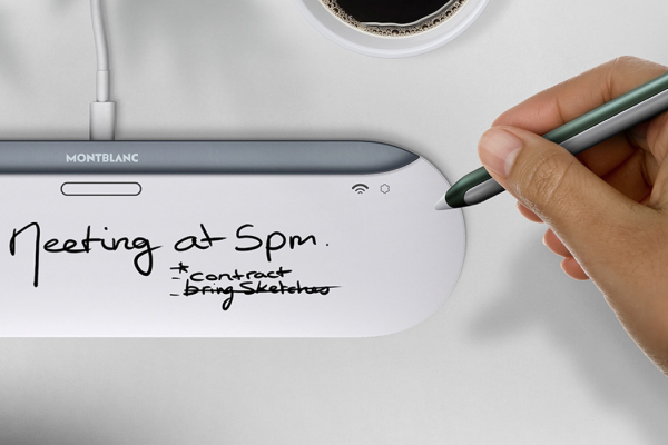 The charging pad of this Montblanc digital pen functions as its paper!