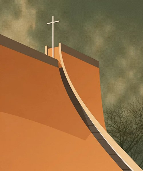 'sacred spaces' by andre chiote depicts religious architecture as graphic illustrations