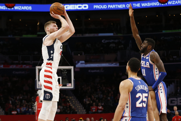 Wizards' Davis Bertans is shooting the lights out from three-point range