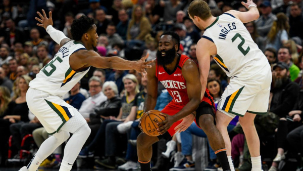 Jazz defense no match for small-ball Rockets, James Harden scores 38 in win