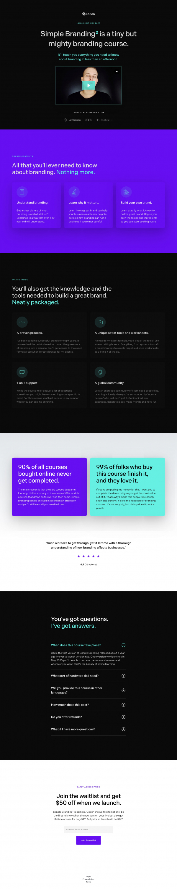 Website Inspiration: Simply Branding Course by Ention