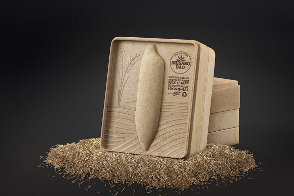 Sustainable rice packaging becomes an artistic tissue box in afterlife
