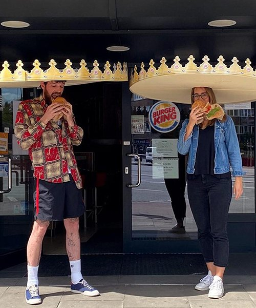burger king is handing out giant crowns to ensure social distancing in germany