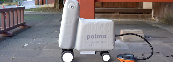 poimo, an inflatable electric scooter that fits inside your backpack