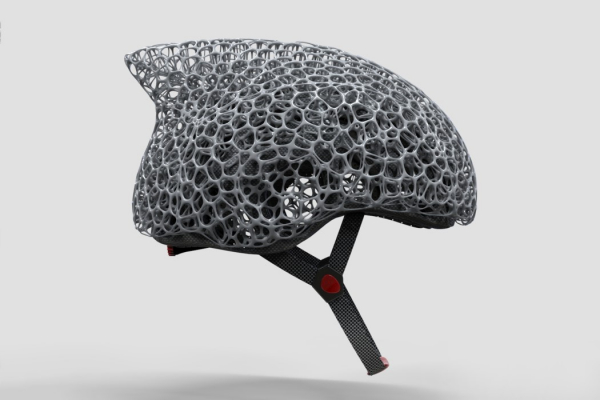 The Voronoi mesh on this bike helmet allows it to absorb maximum impact with minimal material