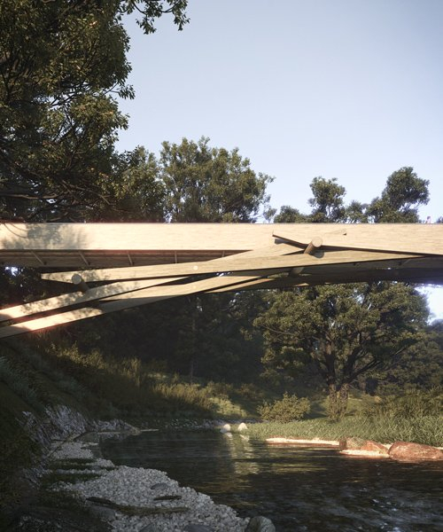 luca poian envisions self-supporting timber footbridge at parco del lura