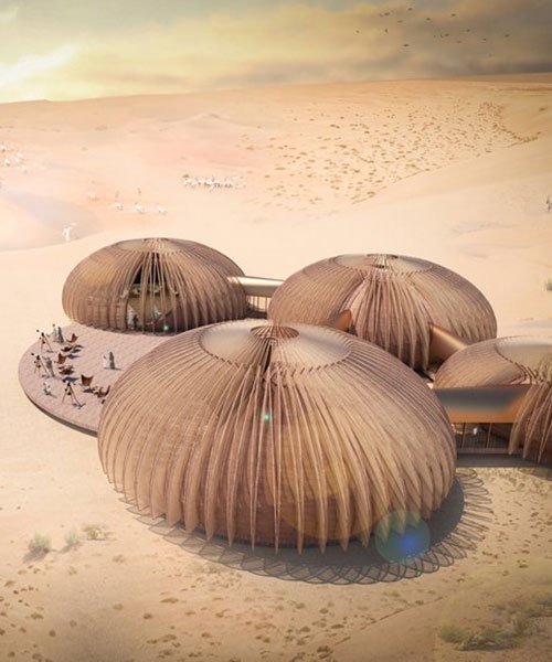 aidia studio envisions adaptable desert pod complex with retractable shading skin in abu dhabi