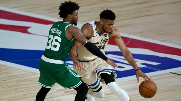 Marcus Smart fined $15,000 for saying referees changed call to keep Giannis Antetokounmpo in game