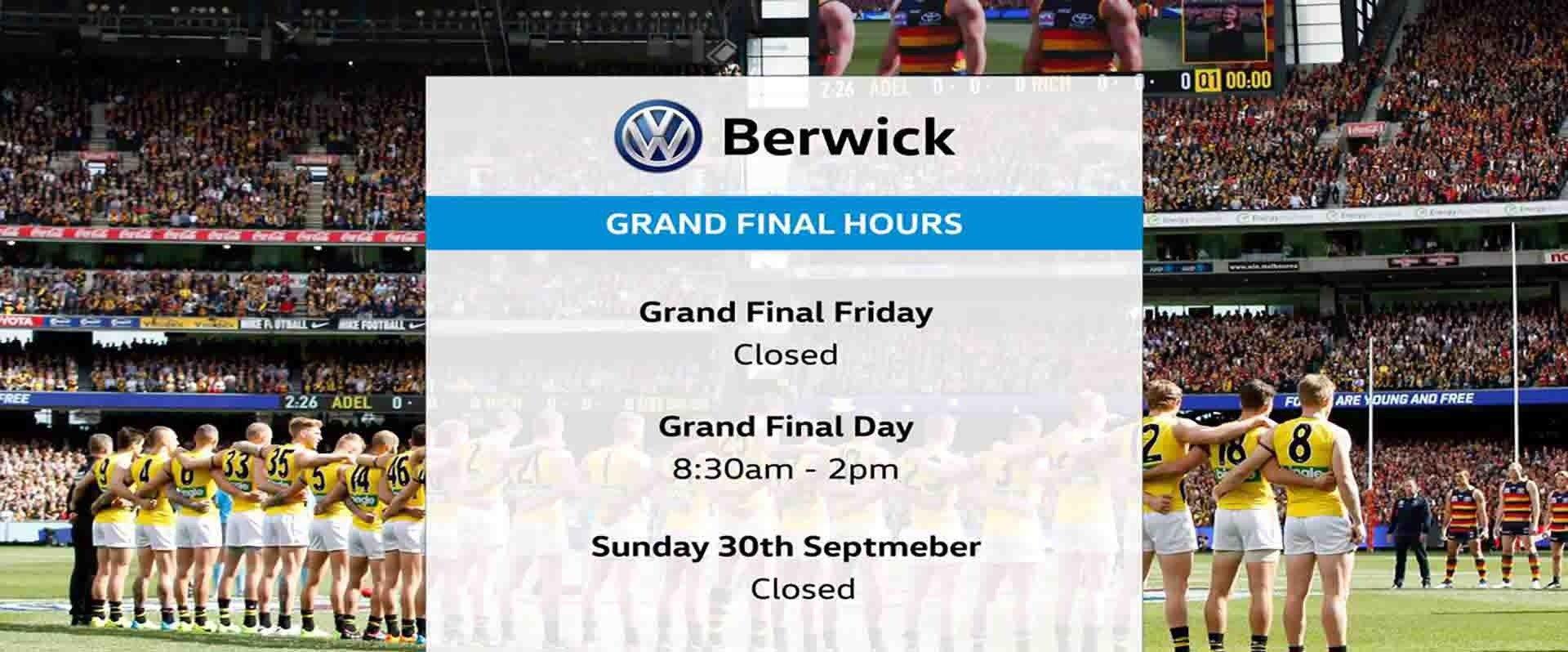 Berwick Volkswagen - Grand Final Hours