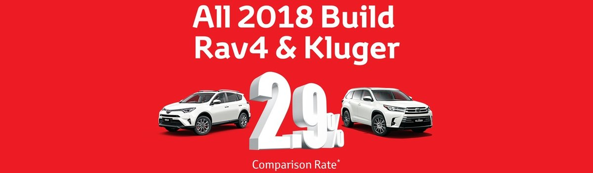 2.9% comparison rate across the All 2018 Rav4 & Kluger models at Waverley Toyota Large Image