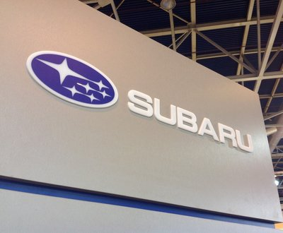 Subaru logo on display on a sign image